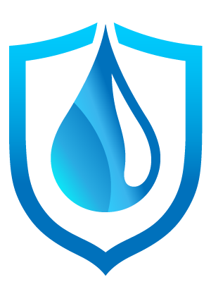 icon of a water droplet on a shield